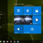 Menú Inicio de Windows 10 (pantalla completa) y lista de programas