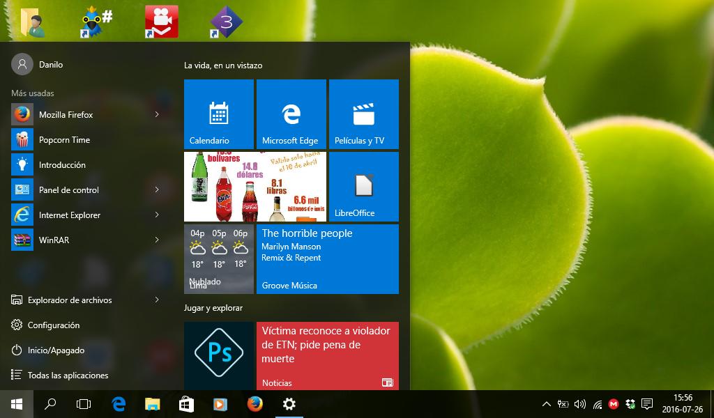 Menú Inicio de Windows 10