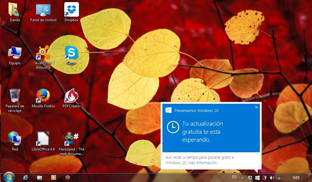 Notificación de actualización a Windows 10 (bandeja de sistema)