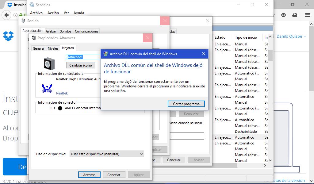 Problema con sonido en Windows 10
