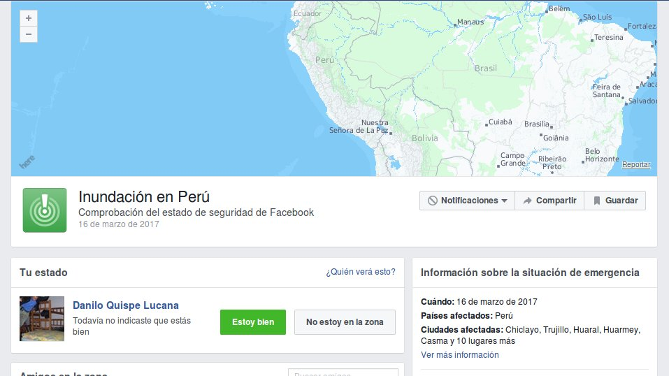Facebook safety check Perú 2016
