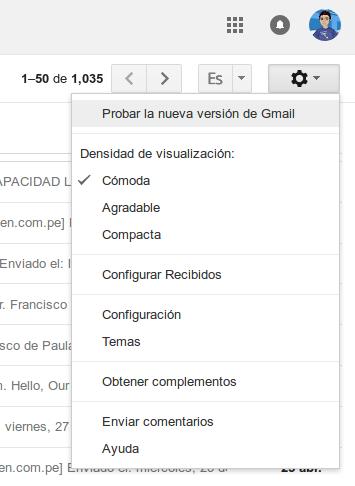 Activación de la nueva interfaz de Gmail desde el menú de Configuración