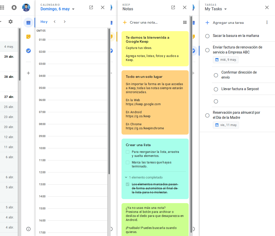 Calendario, Keep y Tareas en Gmail