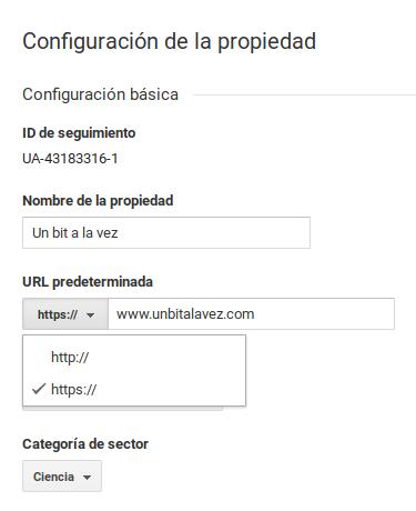 Configuración de la URL de una propiedad como HTTPS en Google Analytics