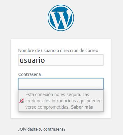 Aviso en Mozilla Firefox de que se va a ingresar una contraseña en una web no segura (no HTTPS)
