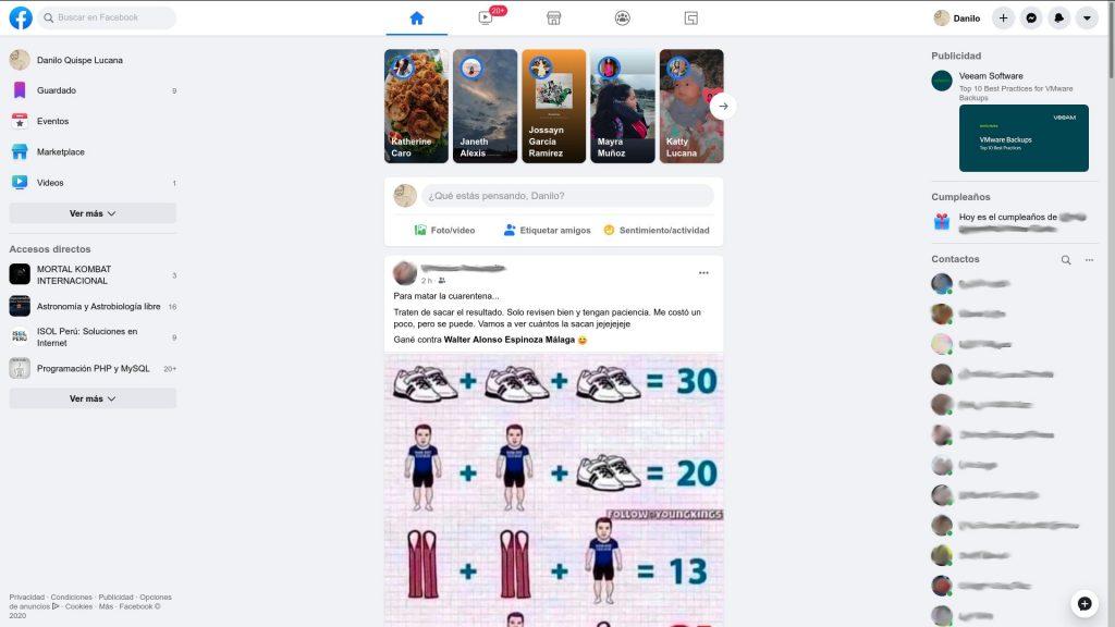 Página de inicio de Facebook (2020)