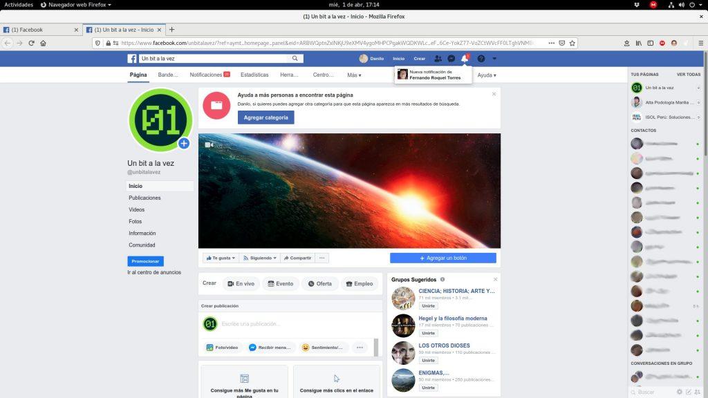 Página de Facebook (diseño actual)