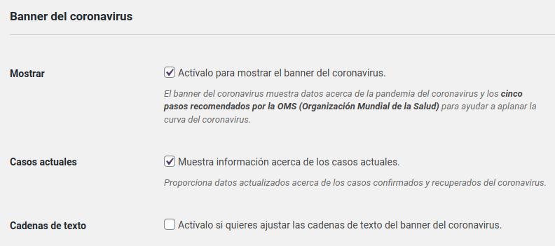 Opciones del banner del coronavirus