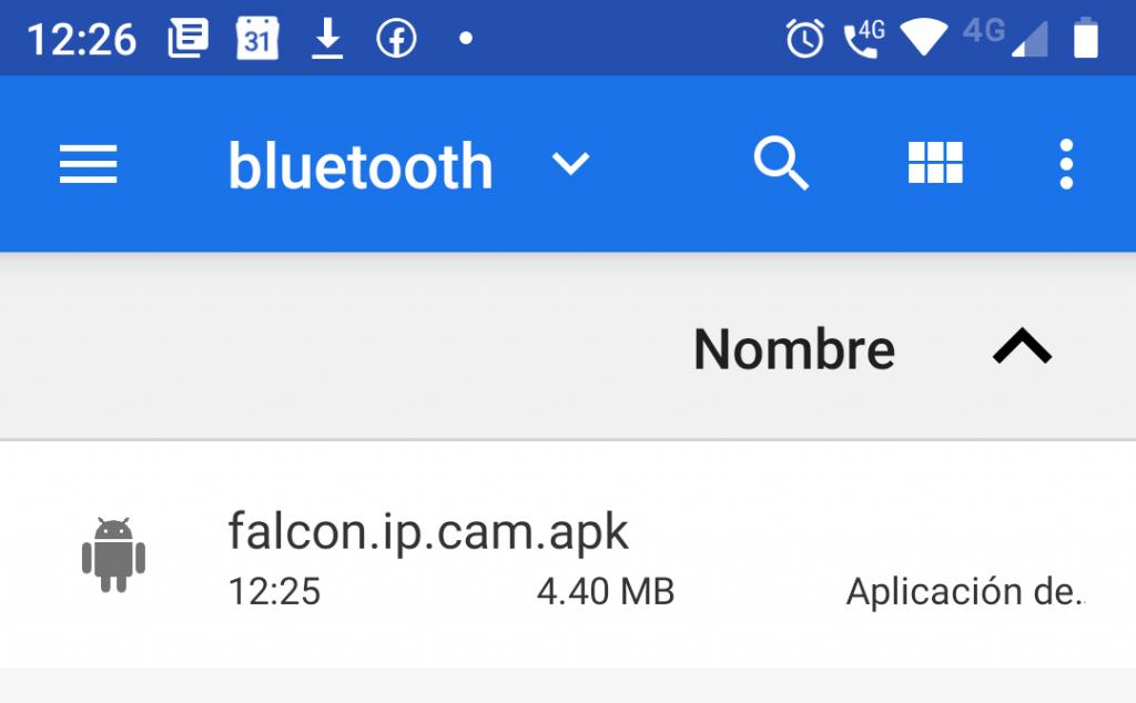 Archivo recibido por Bluetooth