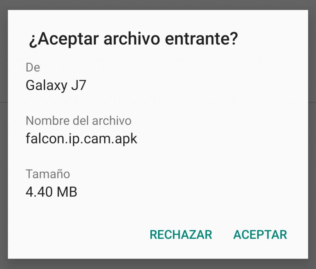 Notificación de envío de archivo por Bluetooth