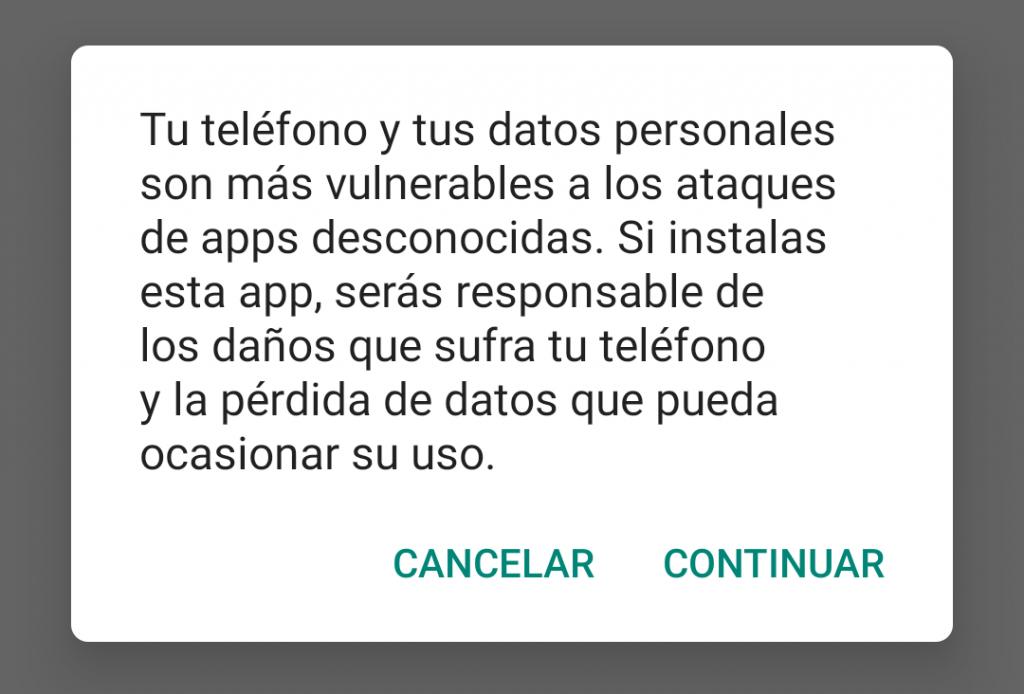 Permitir instalación desde archivo APK (Android 9 Pie)